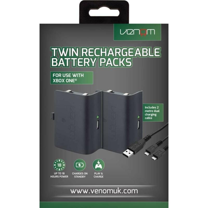 Venom Twin Rechargeable Battery Packs Black